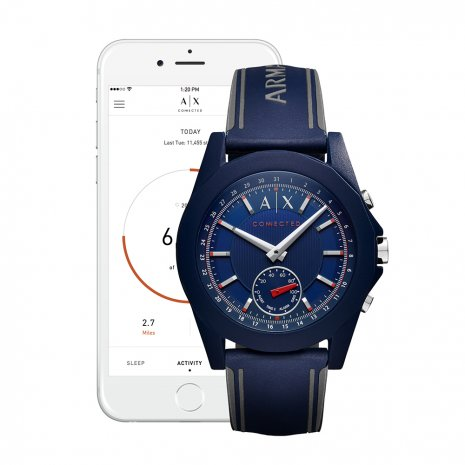 Blauw hybride smartwatch met siliconen band Herfst / Winter Collectie Armani Exchange
