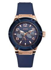 W0571L1 Jet Setter 39mm Trendy Dameshorloge Met Blauwe Band Van Rubber