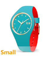 007232 Ice-Loulou 34mm Turquoise-goud siliconen horloge