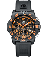 A.3089 Navy Seal Colormark  44mm Zwart/Oranje Carbon DuikChrono, Rubber Band
