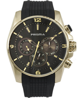 P.1594 Impulse Dive 46mm Zwart & goud multifunctie horloge met rubberen band