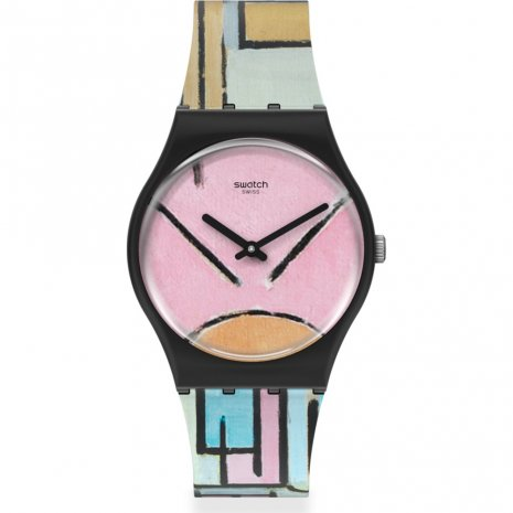 Swatch Composition in oval with color planes 1 - by Piet Mondriaan horloge